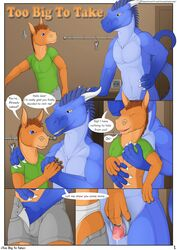 2016 animal_genitalia anthro blue_body blue_eyes blue_scales blue_skin border briefs brown_eyes brown_mane claws close-up clothed clothing comic dialogue digital_media_(artwork) donkey dragon dripping duo english_text equine front_view genital_slit half-erect hand_holding hand_in_pants horn imminent_sex inside male male/male mammal mane nude open_mouth orange_body orange_skin penis precum reptile scales scalie shirt shorts size_difference slit smile text underwear undressing wemd white_border white_sclera white_skin