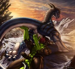 2016 anthro anthro_on_feral anus ass ball_grab balls big_dom_small_sub danza danza_(character) dragon duo fellatio feral male male/male male_on_feral mountain nature oral oral_penetration outside paws penetration penis scales scalie sex size_difference tegon zoophilia