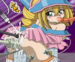 anal ass blonde_hair blush blush_stickers cum cum_in_mouth cum_on_clothes dark_magician_girl female looking_back machine mametora_(artist) oral penetration saliva sex_machine shiny_skin uncensored vaginal_penetration yu-gi-oh!