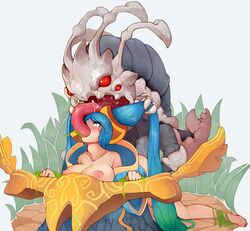 blue_eyes blue_hair breasts collarbone female forced hair_grab happening18 large_breasts league_of_legends long_hair monster nipples oral penis rape restrained sex sona_buvelle tears twintails