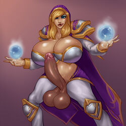 blonde_hair blue_eyes breasts cleavage dickgirl erection futanari hood intersex jaina_proudmoore large_breasts large_penis lip_licking penis rampage0118 solo standing testicles world_of_warcraft