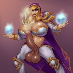 blonde_hair blue_eyes breasts cleavage cum dickgirl ejaculation erection futanari handsfree_ejaculation hood intersex jaina_proudmoore large_breasts large_penis lip_licking penis rampage0118 solo standing testicles world_of_warcraft