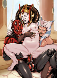 2girls ahsoka_tano breasts darth_maul female male nipples padme_amidala penetration penis pussy renx reverse_cowgirl_position sex star_wars togruta vaginal_penetration zabrak