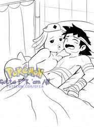 anthro bandage chansey distracting_watermark duo female gfea_(artist) handjob hospital human human_on_anthro interspecies male male/female mammal monochrome nintendo pokecenter pokemon satoshi_(pokemon) satoshi_(pokemon) sex video_games watermark
