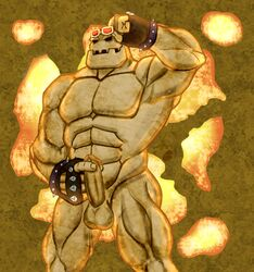2016 abs anso/rez armpits balls biceps clothing digital_media_(artwork) erection eyewear fingerless_gloves gloves goggle_golem goggles golem holding_penis humanoid looking_at_viewer male mineral muscular not_furry nude pecs penis rock solo yu-gi-oh!