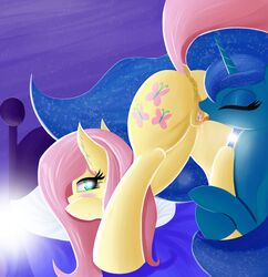 2016 abstract_background anatomically_correct anatomically_correct_pussy animal_genitalia animal_pussy anus ass bed blue_eyes blue_fur blue_hair blush closed_eyes cunnilingus cutie_mark duo equine equine_pussy female female/female feral fluttershy_(mlp) friendship_is_magic fur hair horn horse looking_back mammal my_little_pony oral pillow pink_hair pony princess_luna_(mlp) pussy pussy_juice sex tongue tongue_out twiren unicorn vaginal_penetration western_art yellow_fur yuri