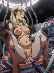 breasts cutepet ejaculation female female_ejaculation green_eyes high_resolution insertion metroid metroid_prime navel nipples pussy solo uncensored vagina vaginal_insertion very_high_resolution