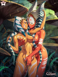 ahsoka_tano alien blue_eyes breasts cutepet female fingering multiple_females nipples nude pussy pussy_juice shaak_ti star_wars yuri