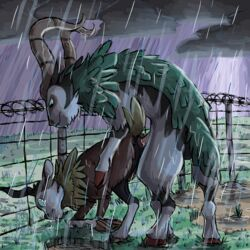 all_fours ambiguous_gender anal anal_sex ass barbed_wire caprine cloudy crying dark detailed_background doggy_style duo fence feral forced from_behind_position gogoat grass hi_res hooves horn larger_male male male/ambiguous mammal nintendo outside paintdog penetration penis pokemon quadruped raining rape sex size_difference skiddo sky storm tears trapped video_games