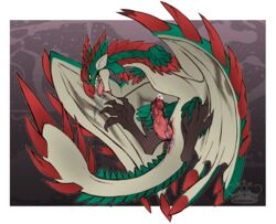 capcom dragon erection feral flying_wyvern male monster_hunter open_mouth penis rathalos red_scales scales solo spikes teeth tongue tongue_out video_games whimsydreams wings wyvern