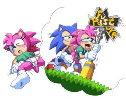 amy_rose bottomless clothed clothing coolblue from_behind_position pussy sex sonic_(series) sonic_cd sonic_the_hedgehog
