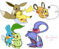 ambiguous_gender anal anal_sex anus balls carbuncle chikorita dedenne eevee female joltik licking male male/female masturbation mudkip nintendo penetration penis pikachu pillow pokemon pussy ribbonreverie ruby_carbuncle simple_background size_difference tongue tongue_out upside-down vaginal_penetration vaginal_penetration video_games vines white_background yu-gi-oh!