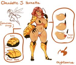 2016 antennae anthro anus areola arthropod big_breasts black_skin blush breasts camel_toe claws clothing english_text female grey_eyes hair hi_res hornet insects lightsource long_hair model_sheet navel nipples panties pink_hair solo standing text thick_thighs underwear wasp wide_hips wings yellow_skin
