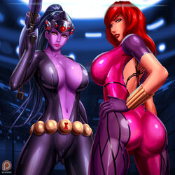 1:1_aspect_ratio 2girls ass avengers belly belt big_ass black_widow blizzard_entertainment blue_eyes blue_hair bodysuit breasts cleavage covered_breasts crossover dat_ass female female_only gauntlets gloves large_ass large_breasts legs leotard lips long_hair marvel marvel_comics multiple_females natasha_romanoff navel overwatch ponytail purple_skin red_hair redhead sideboob svoidist thighs widowmaker yellow_eyes