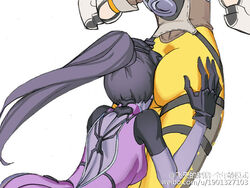 ass ass_grab big_ass bodysuit breasts butt_crack duo face_in_ass female female_only flying_pig gloves hand_on_ass headgear human jacket long_hair multiple_females overwatch ponytail purple_hair purple_skin sideboob skin_tight small_breasts spandex standing tracer white_background widowmaker yuri