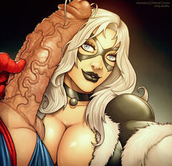 1boy 1girl black_cat black_cat_(marvel) black_lips black_lipstick bodysuit breasts cleavage cock covered_breasts devil_hs felicia_hardy female large_breasts lips long_hair makeup male marvel mask penis peter_parker selfie smile spider-man spider-man_(series) tagme veins veiny veiny_penis white_hair
