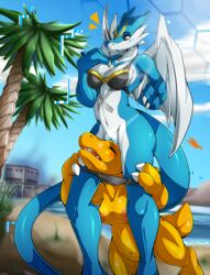 2016 absurd_res agumon anthro bikini blue_skin breasts claws clothing digimon dinosaur dragon exveemon female hi_res nude pussy suddenhack swimsuit video_games wings yellow_skin