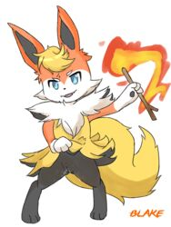 anthro blaketheflareon blaketheflareon_(character) blue_eyes braixen canine eeveelution female fire flareon fox fur hybrid looking_at_viewer mammal nintendo pokemon pussy rule_63 semi-anthro video_games