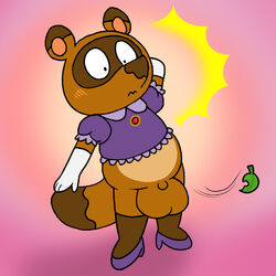 animal_crossing anthro balls big_balls blush bottomless brown_fur clothed clothing crossdressing embarrassed exposed fur leaf male mammal nintendo nishi penis pink_background shocked simple_background slightly_chubby solo tanuki tom_nook_(animal_crossing) video_games