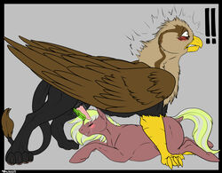 avian backlash91 blush conditional_dnp equine erection female feral friendship_is_magic gryphon horny horse magic male mammal masturbation my_little_pony penis pony simple_background startled