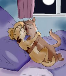 alvin_and_the_chipmunks alvin_seville bed brittany_and_the_chipettes brittany_miller chipettes chipmunk closed_eyes furry kissing night no_humans