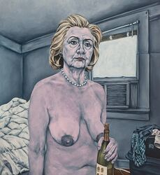 alcohol blonde_hair blue_eyes bottle breasts female hillary_clinton nipples nude sagging_breasts solo what