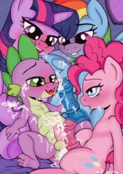 cum friendship_is_magic kyokimute male my_little_pony pinkie_pie_(mlp) rainbow_dash_(mlp) spike_(mlp) twilight_sparkle_(mlp)