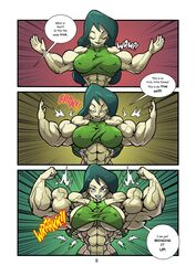 abs back closed_eyes comic disney female female_only flex flexing front_double_biceps green_eyes grin growth human kartoon_warz_#3:_preparing_the_battleground kim_possible long_hair muscle muscle_growth muscles muscular muscular_female navel reddyheart shego solo veins