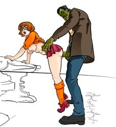 anal anal_sex bent_over colored female frankenstein frankenstein's_monster from_behind hanging_breasts hanna_barbera human large_breasts male monster scooby-doo straight tagme uncensored velma_dinkley