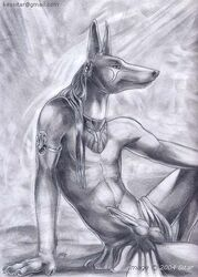 anthro anubian_jackal anubis balls canine deity egyptian fur furry jackal jewelry looking_at_viewer male mammal penis piercing smile solo syntarsis