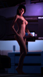 3d ashley_williams black_hair breasts brown_eyes dark_hair dickgirl erection giallo1972 hand_on_penis light_skin looking_at_viewer mass_effect medium_breasts naked nude penis_grasp pin_up pinup sfm shemale smile source_filmmaker uncensored