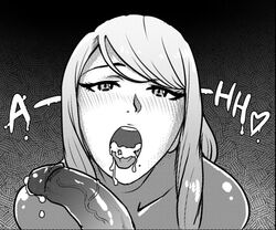 1boy 1girl akairiot beauty_mark black_and_white blush cum cum_in_mouth female male metroid open_mouth penis ponytail pov samus_aran