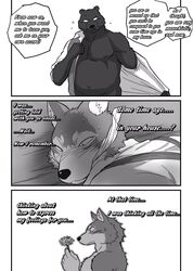 anthro bear big_bad_wolf blush bondage bound canine clothing comic forced fur furry gay imminent_rape male mammal maririn penis rope text undressing wolf