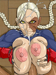 arcticwinds blonde_hair braid breast_squeeze breasts breasts_outside capcom cum cum_on_hair decapre deep_skin ejaculation eyelashes facial female fingerless_gloves gloves highres huge_breasts large_breasts leotard long_hair looking_at_viewer makeup mascara muscle nipples no_mask paizuri penis scar skin_tight street_fighter turtleneck twin_braids ultra_street_fighter_iv uncensored yellow_eyes