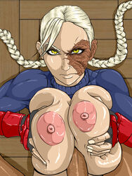 arcticwinds blonde_hair braid breast_squeeze breasts breasts_outside capcom decapre deep_skin eyelashes female fingerless_gloves gloves highres huge_breasts large_breasts leotard long_hair looking_at_viewer makeup mascara muscle nipples no_mask paizuri penis scar skin_tight street_fighter turtleneck twin_braids ultra_street_fighter_iv uncensored yellow_eyes