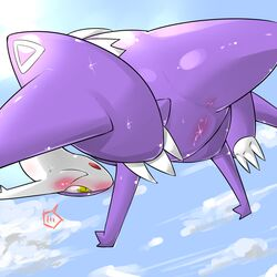 2015 anus ass blush claws cloud day dragon female feral hi_res latias legendary_pokémon mega_evolution mega_latias nintendo nude open_mouth outside pokemon pussy pussy_juice rathikyou solo sweat tongue video_games wings yellow_eyes