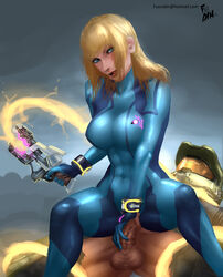 abs armor blonde_hair blue_eyes bodysuit bracelet clothed_sex crossover female fusrodin gun halo_(series) handjob large_breasts long_hair looking_at_viewer male master_chief metroid microsoft nintendo penis reverse_cowgirl_position samus_aran sex skin_tight straight testicles thick_thighs tight_clothes tongue tongue_out vaginal_penetration weapon zero_suit