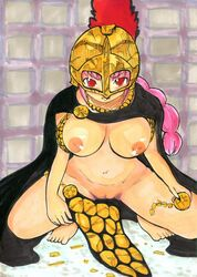 armor cape female long_hair nipples one_piece pink_hair pussy rebecca_(one_piece) spread_legs uncensored