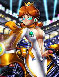 biting_lip blue_eyes blush bodysuit brown_hair cleavage color crown earrings erection freckles futanari gloves human intersex large_breasts mario_kart midriff motorcycle navel nintendo penis princess_daisy scarf shadman solo standing super_mario_bros. therealshadman uncensored unzipped video_games