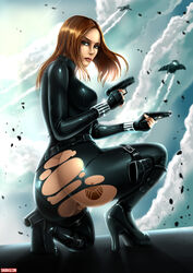 ass black_widow bodysuit boots brown_hair dat_ass dual_wielding gun high_heels long_hair marvel pussy shadman solo solo_female tattoo the_avengers therealshadman torn_bodysuit torn_clothes weapon