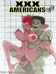 areola balls big_breasts bololo breast_fondling breast_grab breasts callie_maggotbone demon erect_nipples erection female fondling hair horn male navel nipples no_humans nude penetration penis pussy randall_skeffington red_hair sex succubus ugly_americans undead vaginal_penetration zombie
