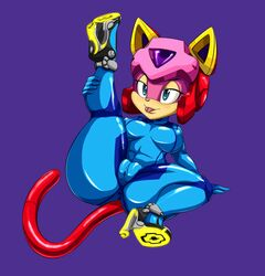 blue_eyes feline feline female half-closed_eyes helmet high_heels mammal plain_background samurai_pizza_cats tatsunoko thecon tongue tongue_out wide_hips zero_suit