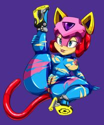 anus blue_eyes clothing feline feline female half-closed_eyes helmet high_heels mammal nipples plain_background pussy samurai_pizza_cats tatsunoko thecon tongue tongue_out torn_clothing wide_hips zero_suit