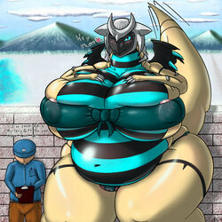 2014 alternate_color anthro areola belly big_belly big_breasts black_skin blue_eyes blue_skin blush bow breasts camel_toe claws clipboard clothed clothing cloud duo english_text fan_character female fuzzychicken giratina hand_on_breast hat heart human inviting leeloo legendary_pokémon male mammal mountain navel nintendo one_eye_closed overweight pants pokemon pussy raised_tail seductive shiny_pokémon shirt size_difference skimpy sky smile text video_games water wings wink