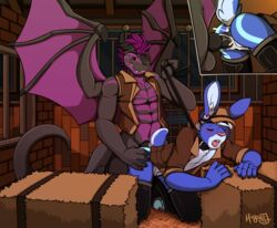 2015 anal anthro balls blush claws clothing cum cute digital_media_(artwork) dragon duo fur hair higsby horn knot lagomorph male male/male mammal open_mouth paws penis rabbit scalie sex smile tongue tongue_out white_fur wings