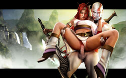 crossover god_of_war heavenly_sword kratos nariko ranged_weapon straight