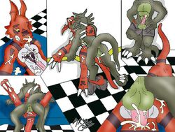buggery color crossover digimon guilmon interspecies jackie_chan_adventures male male_only multiple_males shendu yaoi