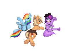 4_toes alpha_channel applejack_(mlp) ass canine clitoris clothed clothing crossed_legs crossover equine female friendship_is_magic furry group hair hair_over_eye half-dressed hat hi_res high_resolution hooves horse leyanor littlest_pet_shop long_hair looking_at_viewer looking_back my_little_pony panties panties_down plain_background plump_labia pony pussy rainbow_dash_(mlp) skirt spread_legs spreading threesome transparent_background underwear zoe_trent