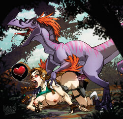ass big_breasts breasts brown_hair closed_eyes dinosaur doggy_style fangs fingerless_gloves glasses gloves kaizen2582 lara_croft nipples open_mouth penis raptor sex straight tomb_raider tongue_out velociraptor zoophilia