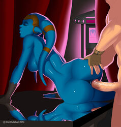 2014 alien anus ass ass_grab blue_skin breasts closed_eyes female fingerless_gloves from_behind gloves iron-dullahan male nipples nude penis pussy sex star_wars twi'lek vaginal_penetration